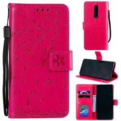 Embossing Cherry Blossom Cat Leather Wallet Case for Xiaomi Redmi K20 / K20 Pro - Rose