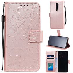 Embossing Cherry Blossom Cat Leather Wallet Case for Xiaomi Redmi K20 / K20 Pro - Rose Gold