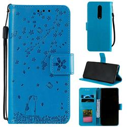 Embossing Cherry Blossom Cat Leather Wallet Case for Xiaomi Redmi K20 / K20 Pro - Blue