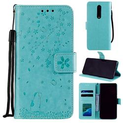 Embossing Cherry Blossom Cat Leather Wallet Case for Xiaomi Redmi K20 / K20 Pro - Green