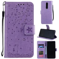 Embossing Cherry Blossom Cat Leather Wallet Case for Xiaomi Redmi K20 / K20 Pro - Purple