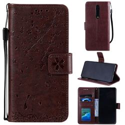 Embossing Cherry Blossom Cat Leather Wallet Case for Xiaomi Redmi K20 / K20 Pro - Brown