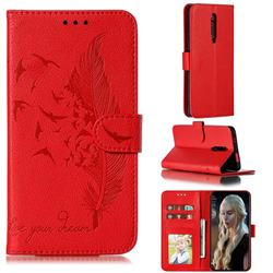 Intricate Embossing Lychee Feather Bird Leather Wallet Case for Xiaomi Redmi K20 / K20 Pro - Red
