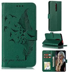 Intricate Embossing Lychee Feather Bird Leather Wallet Case for Xiaomi Redmi K20 / K20 Pro - Green