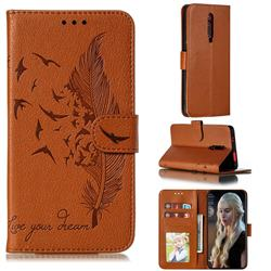 Intricate Embossing Lychee Feather Bird Leather Wallet Case for Xiaomi Redmi K20 / K20 Pro - Brown
