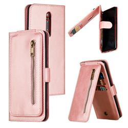 Multifunction 9 Cards Leather Zipper Wallet Phone Case for Xiaomi Redmi K20 / K20 Pro - Rose Gold