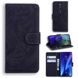 Intricate Embossing Tiger Face Leather Wallet Case for Xiaomi Redmi K20 / K20 Pro - Black