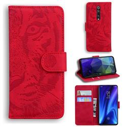 Intricate Embossing Tiger Face Leather Wallet Case for Xiaomi Redmi K20 / K20 Pro - Red