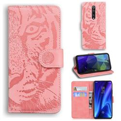 Intricate Embossing Tiger Face Leather Wallet Case for Xiaomi Redmi K20 / K20 Pro - Pink