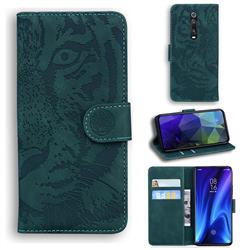 Intricate Embossing Tiger Face Leather Wallet Case for Xiaomi Redmi K20 / K20 Pro - Green