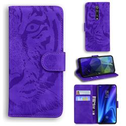 Intricate Embossing Tiger Face Leather Wallet Case for Xiaomi Redmi K20 / K20 Pro - Purple