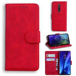 Retro Classic Skin Feel Leather Wallet Phone Case for Xiaomi Redmi K20 / K20 Pro - Red