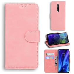 Retro Classic Skin Feel Leather Wallet Phone Case for Xiaomi Redmi K20 / K20 Pro - Pink