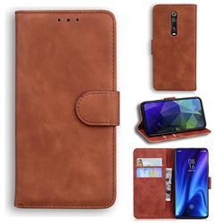 Retro Classic Skin Feel Leather Wallet Phone Case for Xiaomi Redmi K20 / K20 Pro - Brown