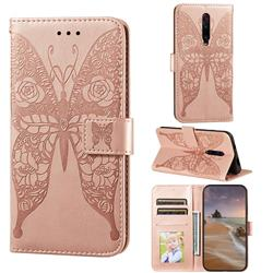 Intricate Embossing Rose Flower Butterfly Leather Wallet Case for Xiaomi Redmi K20 / K20 Pro - Rose Gold