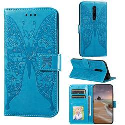 Intricate Embossing Rose Flower Butterfly Leather Wallet Case for Xiaomi Redmi K20 / K20 Pro - Blue