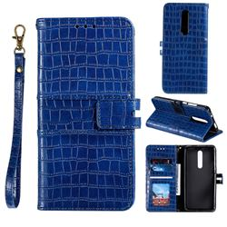 Luxury Crocodile Magnetic Leather Wallet Phone Case for Xiaomi Redmi K20 / K20 Pro - Blue