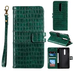 Luxury Crocodile Magnetic Leather Wallet Phone Case for Xiaomi Redmi K20 / K20 Pro - Green