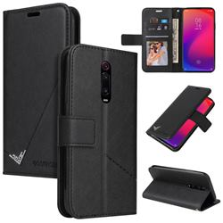 GQ.UTROBE Right Angle Silver Pendant Leather Wallet Phone Case for Xiaomi Redmi K20 / K20 Pro - Black