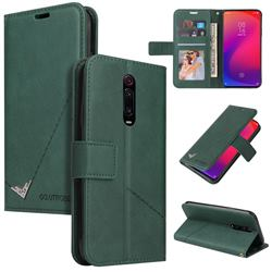 GQ.UTROBE Right Angle Silver Pendant Leather Wallet Phone Case for Xiaomi Redmi K20 / K20 Pro - Green