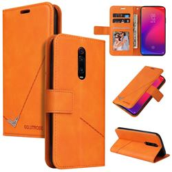 GQ.UTROBE Right Angle Silver Pendant Leather Wallet Phone Case for Xiaomi Redmi K20 / K20 Pro - Orange