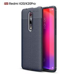 Luxury Auto Focus Litchi Texture Silicone TPU Back Cover for Xiaomi Redmi K20 Pro - Dark Blue