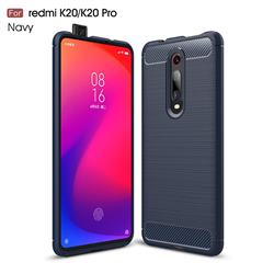 Luxury Carbon Fiber Brushed Wire Drawing Silicone TPU Back Cover for Xiaomi Redmi K20 Pro - Navy