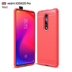 Luxury Carbon Fiber Brushed Wire Drawing Silicone TPU Back Cover for Xiaomi Redmi K20 Pro - Red