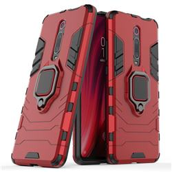 Black Panther Armor Metal Ring Grip Shockproof Dual Layer Rugged Hard Cover for Xiaomi Redmi K20 Pro - Red