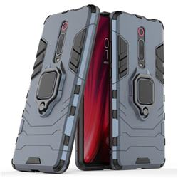 Black Panther Armor Metal Ring Grip Shockproof Dual Layer Rugged Hard Cover for Xiaomi Redmi K20 Pro - Blue
