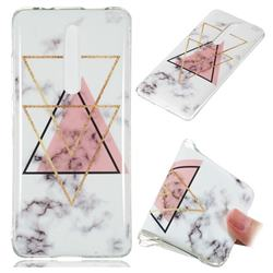 Inverted Triangle Powder Soft TPU Marble Pattern Phone Case for Xiaomi Redmi K20 Pro