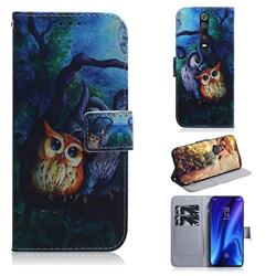 Oil Painting Owl PU Leather Wallet Case for Xiaomi Redmi K20 Pro