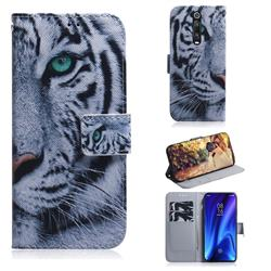 White Tiger PU Leather Wallet Case for Xiaomi Redmi K20 Pro