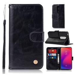 Luxury Retro Leather Wallet Case for Xiaomi Redmi K20 Pro - Black