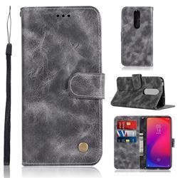 Luxury Retro Leather Wallet Case for Xiaomi Redmi K20 Pro - Gray