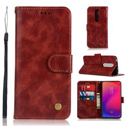 Luxury Retro Leather Wallet Case for Xiaomi Redmi K20 Pro - Wine Red