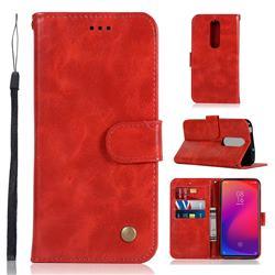 Luxury Retro Leather Wallet Case for Xiaomi Redmi K20 Pro - Red
