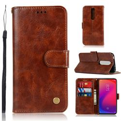 Luxury Retro Leather Wallet Case for Xiaomi Redmi K20 Pro - Brown