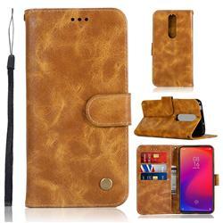 Luxury Retro Leather Wallet Case for Xiaomi Redmi K20 Pro - Golden