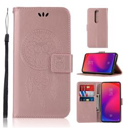 Intricate Embossing Owl Campanula Leather Wallet Case for Xiaomi Redmi K20 Pro - Rose Gold