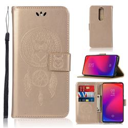 Intricate Embossing Owl Campanula Leather Wallet Case for Xiaomi Redmi K20 Pro - Champagne