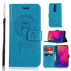 Intricate Embossing Owl Campanula Leather Wallet Case for Xiaomi Redmi K20 Pro - Blue