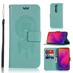 Intricate Embossing Owl Campanula Leather Wallet Case for Xiaomi Redmi K20 Pro - Green