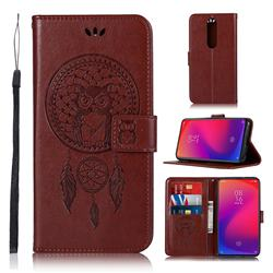 Intricate Embossing Owl Campanula Leather Wallet Case for Xiaomi Redmi K20 Pro - Brown