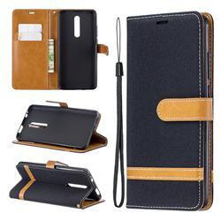 Jeans Cowboy Denim Leather Wallet Case for Xiaomi Redmi K20 Pro - Black