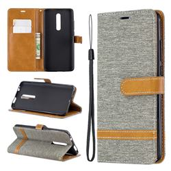 Jeans Cowboy Denim Leather Wallet Case for Xiaomi Redmi K20 Pro - Gray
