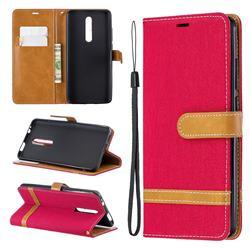 Jeans Cowboy Denim Leather Wallet Case for Xiaomi Redmi K20 Pro - Red