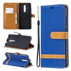 Jeans Cowboy Denim Leather Wallet Case for Xiaomi Redmi K20 Pro - Sapphire