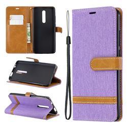 Jeans Cowboy Denim Leather Wallet Case for Xiaomi Redmi K20 Pro - Purple