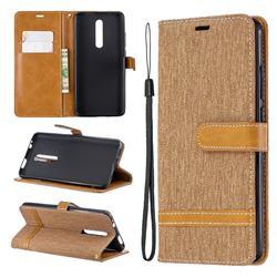 Jeans Cowboy Denim Leather Wallet Case for Xiaomi Redmi K20 Pro - Brown